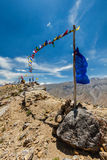 Buddhist prayer flags lungta in Spiti valley Royalty Free Stock Image