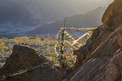 Buddhist prayer flags on the mountain Stock Image