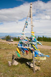 Buddhist prayer flags on mountain pass Royalty Free Stock Photography
