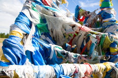 Buddhist prayer flags on mountain pass Royalty Free Stock Image