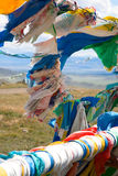 Buddhist prayer flags on mountain pass Royalty Free Stock Photo