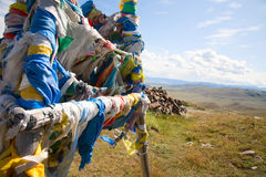 Buddhist prayer flags on mountain pass Royalty Free Stock Photos