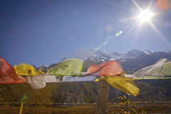 Buddhist prayer flags on a sky background in Himalayas Royalty Free Stock Photography