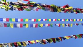 Buddhist prayer flags. Tibetan prayer flags stock video
