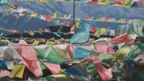 Buddhist prayer flags stock video