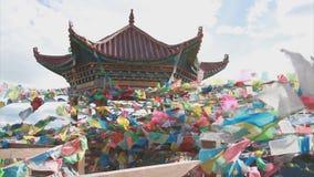 Buddhist prayer flags stock footage