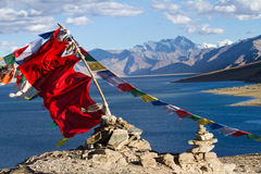 Buddhist prayer flags on the wind Stock Image