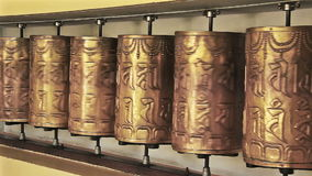 Buddhist Prayer Golden Wheels stock video footage