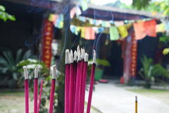 Buddhist prayer joss sticks in a chinese temple Stock Photo