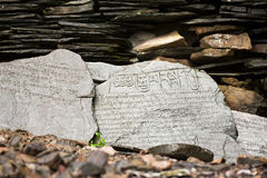 Buddhist prayer stone with mantra. Wet after rain royalty free stock image