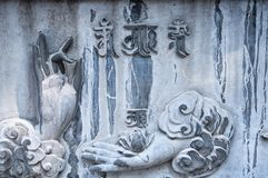 A buddhist prayer stone mural. Depicting praying hands and ancient chinese characters at Shaolin Temple in Dengfeng City, Henan Province China stock photo