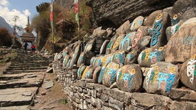 Buddhist Prayer Stones Himalayas Mountains stock video