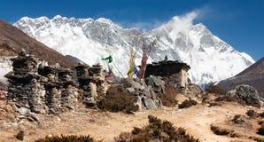 Buddhist prayer walls or prayer stupas in nepal on Stock Image