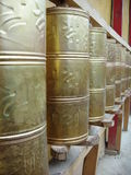 Buddhist Prayer Wheels. In a temple in China Stock Photo