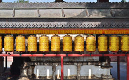 Buddhist prayer wheels in  Boudhanath Stock Image