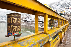 Buddhist Prayer Wheels in Changu lake Royalty Free Stock Photo