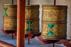 Buddhist prayer wheels. Diskit, Ladakh Stock Photos