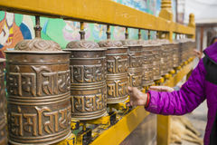 Buddhist prayer wheels, Kathmandu, Nepal. Stock Images