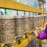 Buddhist prayer wheels, Kathmandu, Nepal. Stock Photo