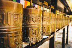 Buddhist prayer wheels at Kyoto temple, Japan, Asia Royalty Free Stock Photos