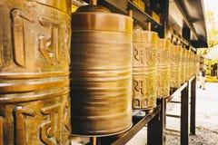 Buddhist prayer wheels at Kyoto temple, Japan, Asia. Zen Buddha temple in Kyoto Stock Photo