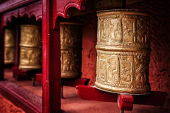 Buddhist prayer wheels , Ladakh Stock Photo