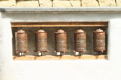 Buddhist prayer wheels. Made from cuprum Royalty Free Stock Photo