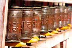 Buddhist prayer wheels Mongolia Royalty Free Stock Photo