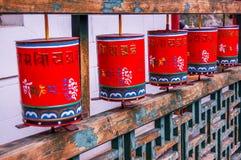 Buddhist prayer wheels at Mongolian meditation center Stock Image