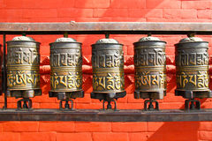Buddhist prayer wheels, Nepal Royalty Free Stock Images