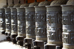Buddhist prayer wheels, Nepal, Kathmandu. Royalty Free Stock Images
