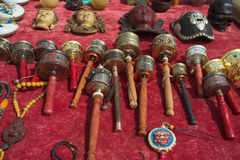 Buddhist prayer wheels for sale Stock Images