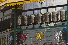 Buddhist prayer wheels, Soyambunath temple, Kathmandu. Stock Photo