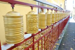 Buddhist Prayer Wheels Spinning Royalty Free Stock Photo