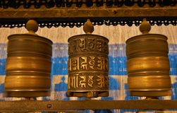 Buddhist prayer wheels in Swayambhunath Royalty Free Stock Photos