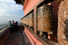 Buddhist prayer wheels in Swayambhunath, Nepal Stock Photo