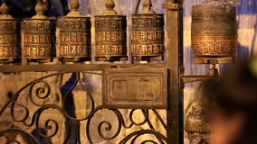 Buddhist prayer wheels. Swayambhunath Stupa, Kathmandu, Nepal, Full HD Royalty Free Stock Photography