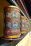 Buddhist prayer wheels. Prayer wheels used by Buddhist monks for meditation Stock Images