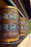 Buddhist prayer wheels. Prayer wheels used by Buddhist monks for meditation Stock Photo
