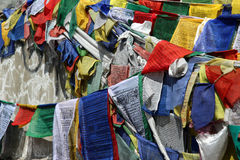 Buddhist praying flag. From rothang pass stock photography