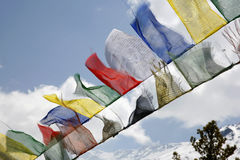 Buddhist praying flags, annapurna Royalty Free Stock Image