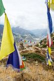 Buddhist praying flags blowing in the wind. Royalty Free Stock Photos
