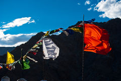 Buddhist praying flags flapping in the wind. India Royalty Free Stock Photo