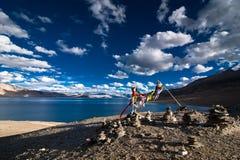 Buddhist praying flags at Tso Moriri Lake. India Stock Images