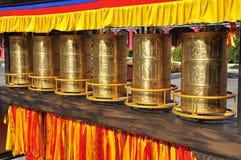 Buddhist prayer wheels. Chongsheng temple, China Stock Photos