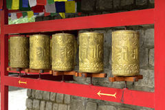 Buddhist Praying Wheels Stock Photos