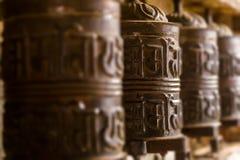 Buddhist praying wheels Royalty Free Stock Images