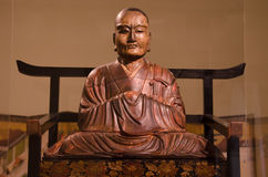 Buddhist Priest wooden sculpture by Mondo Fukuoko in 1754 in Japan Royalty Free Stock Photography