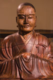 Buddhist Priest wooden sculpture by Mondo Fukuoko in 1754 in Japan Stock Image