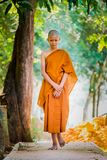 Buddhist priests practice walking Practice setting the breath. Buddhist priests practice walking, Practice setting the breath stock photo